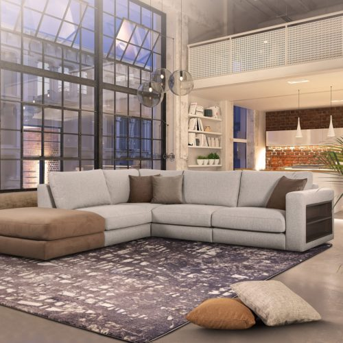 3D-Illustration. loft apartment with living room and kitchen by night.